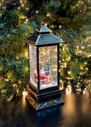 Снежный шар Фонарь со снегом, коричневый, LED 1... - заказ и доставка цветов Киев