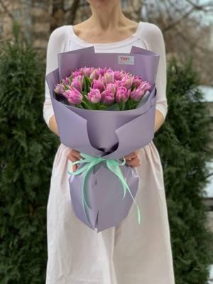 Букет 35 лиловых пионовидных тюльпанов - заказ и доставка цветов Киев