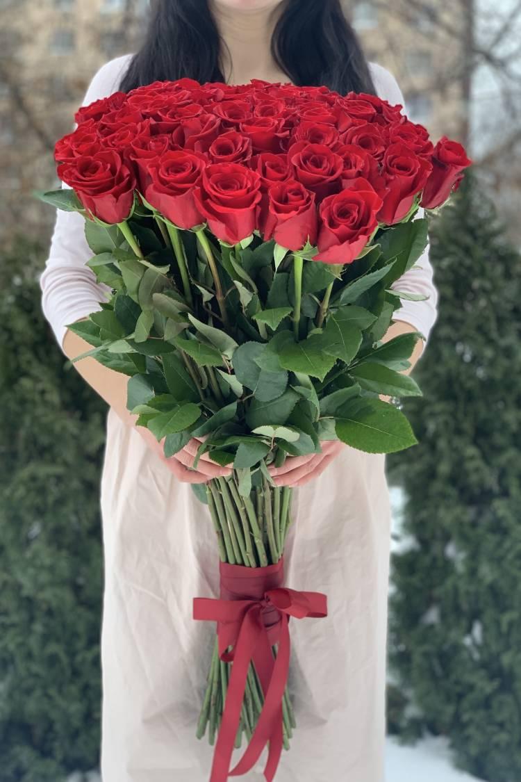 Букет 51 красная импортная роза, 80 см