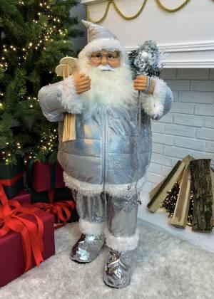 Декор Санта в серебряной шубе стоит, 80 см - заказ и доставка цветов Киев