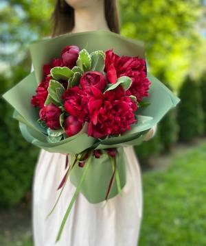 Букет 9 Бордовых пионов - заказ и доставка цветов Киев