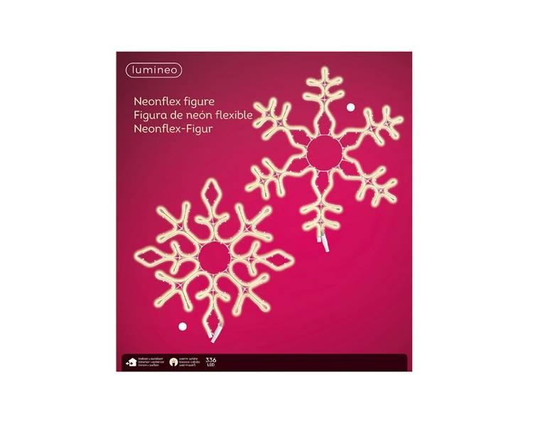 Неоновая LED снежинка тёплый белый 35 см
