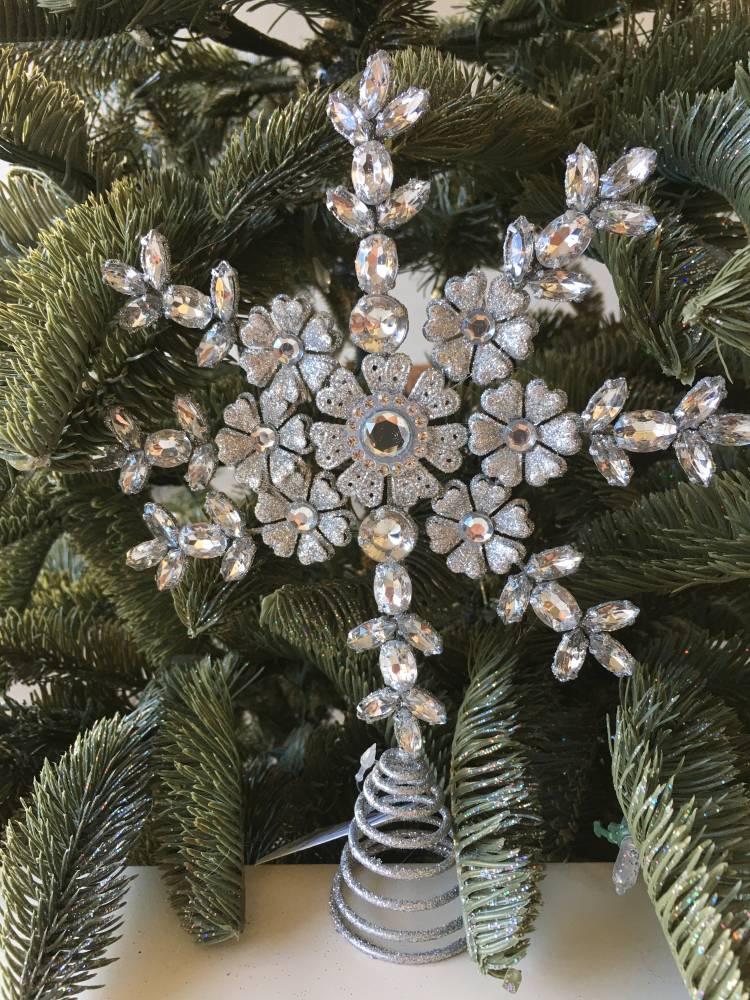 Верхушка на ёлку Снежинка серебро, 23 см