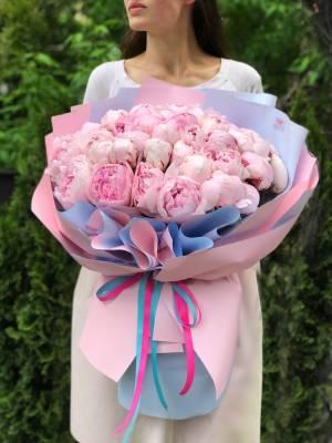 Букет 51 розовый пион - заказ и доставка цветов Киев