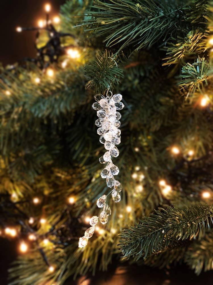 """Новогодняя подвеска """"Бриллиантовые бусы"""", прозрачная 15см"""