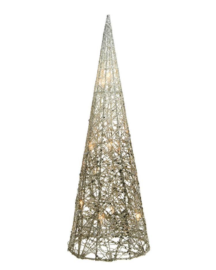 Светодиодный конус бело-золотой провод 23x23x90cm-48L