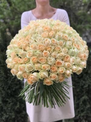 Букет 201 персиковая роза - заказ и доставка цветов Киев