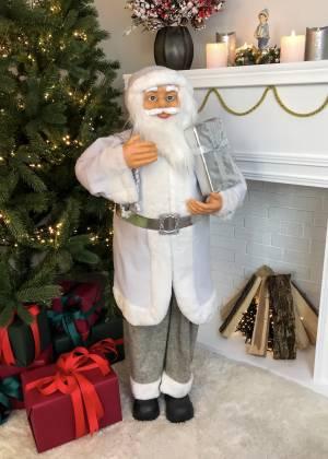 Фигурка Новогодний Санта стоит, белый, ткань, 3... - заказ и доставка цветов Киев