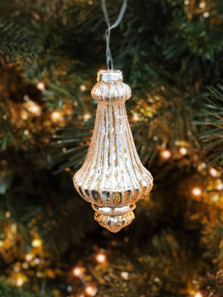 Новогоднее украшение Рождественский шар, золотой 7 х 14 см