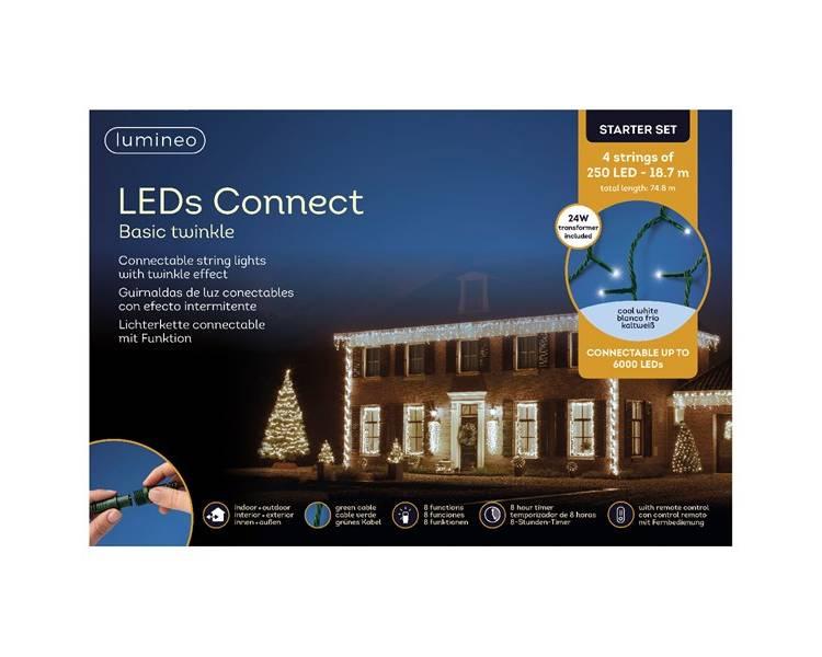 Набор Кластерный LED гирлянд зелёный кабель тёплый белый 4*1870 см