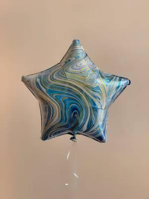 Шар фольгированный Звезда голубой мрамор - заказ и доставка цветов Киев