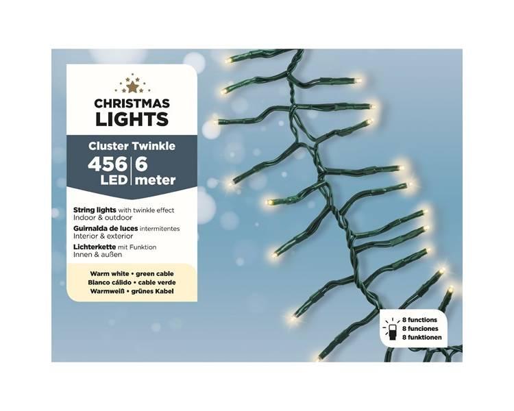 Кластерная LED гирлянда зелёный кабель тёплый белый 600 см
