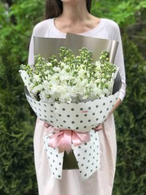 Букет 15 белых маттиол - заказ и доставка цветов Киев
