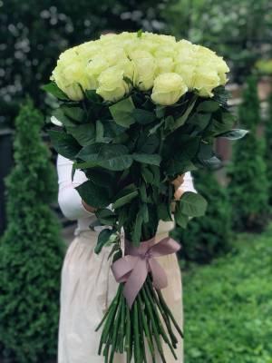 Букет 51 белая импортная роза, 80 см - заказ и доставка цветов Киев