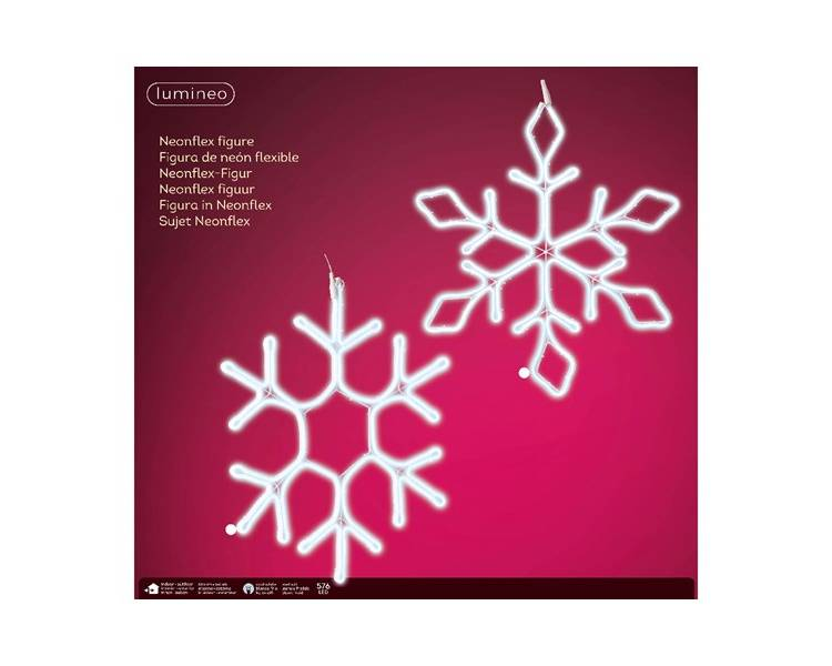 Неоновая LED снежинка холодный белый 54*69 см