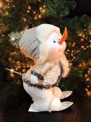 Новогодний декор Снеговик золотой 28х25х34 см - заказ и доставка цветов Киев