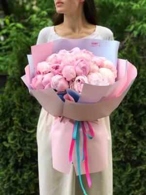 Букет 31 розовый пион - заказ и доставка цветов Киев