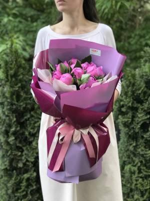 Букет 9 пионов маджента - заказ и доставка цветов Киев