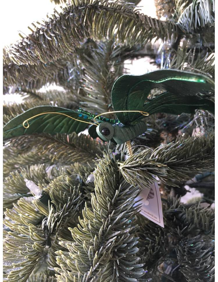 Ёлочная игрушка Бабочка на клипсе в блёстках, зелёная, 19 см