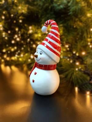 Декор Снеговик керамический в полосатой шапке - заказ и доставка цветов Киев