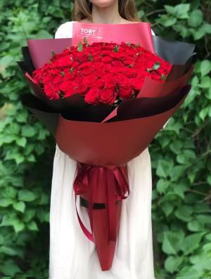 Букет 151 красная роза в упаковке - заказ и доставка цветов Киев