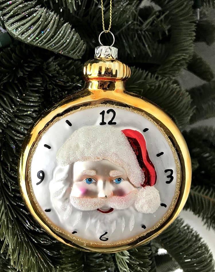 """Ёлочная игрушка """"Стеклянные карманные часы Санта"""""""