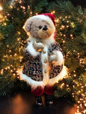 Декор Медведь в бордовой шубе - заказ и доставка цветов Киев