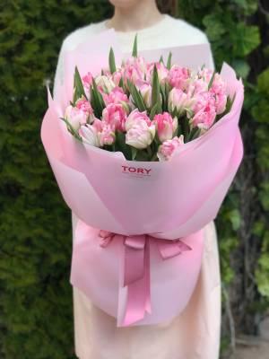 Букет 51 розовый пионовидный тюльпан - заказ и доставка цветов Киев