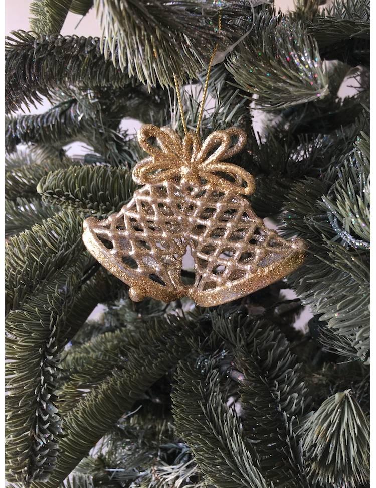 Ёлочное украшение Колокольчики золото, 11 см