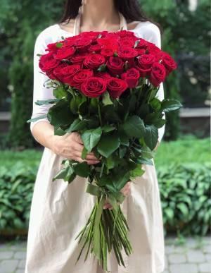 Букет 51 красная роза Премиум, 80 см - заказ и доставка цветов Киев