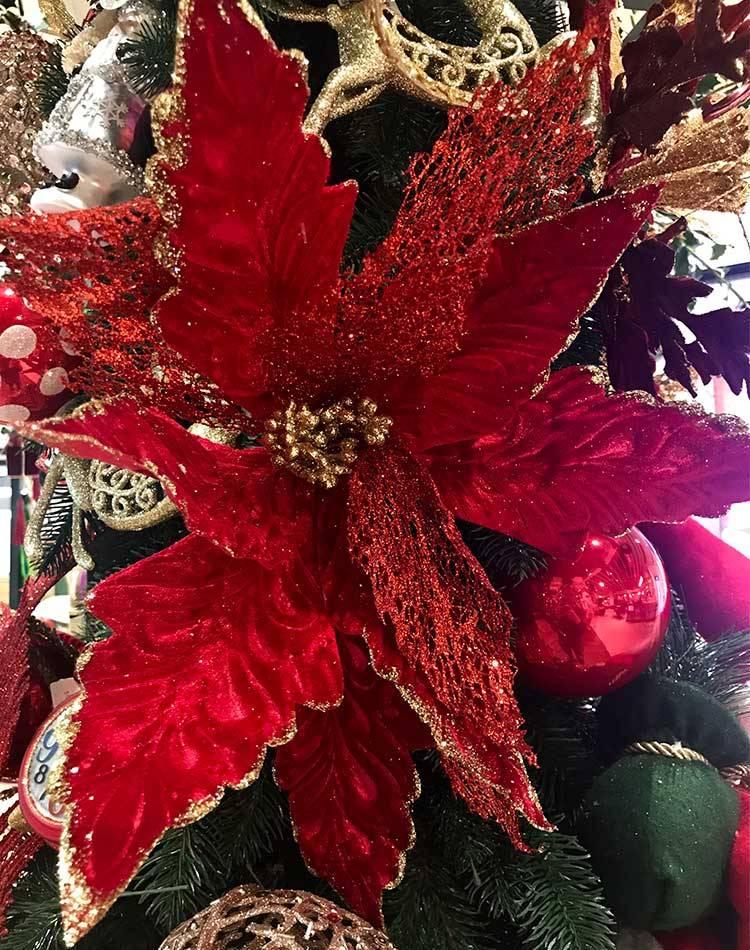 Новогодняя пуансеттия с блёстками на клипсе, красный/золото, 42 см