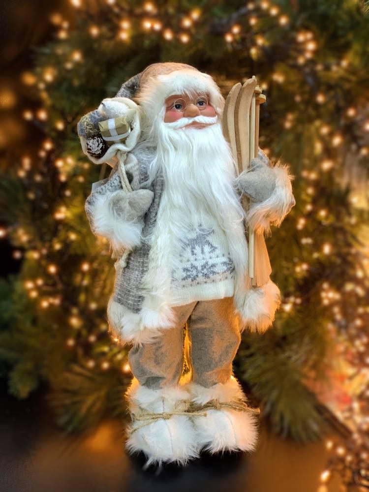 Новогодняя фигурка Санта Клаус с лыжами, серый 46см