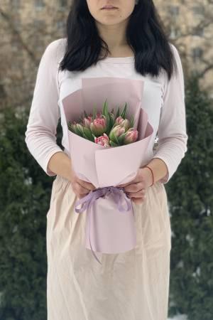 Букет 9 розовых пионовидных тюльпанов - заказ и доставка цветов Киев