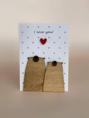 Открытка с деревянным декором Love You!! - заказ и доставка цветов Киев