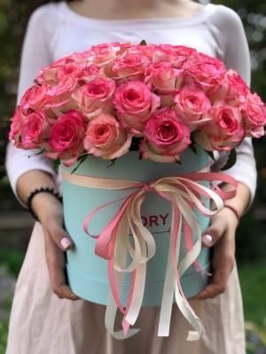 51 троянда Джумілія в шляпной коробці - заказ и доставка цветов Киев