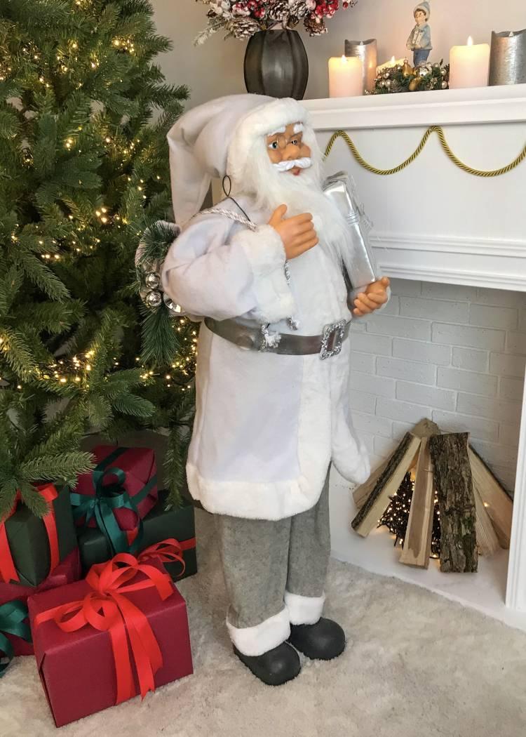 Фигурка Новогодний Санта стоит, белый, ткань, 30 LED, 110 см
