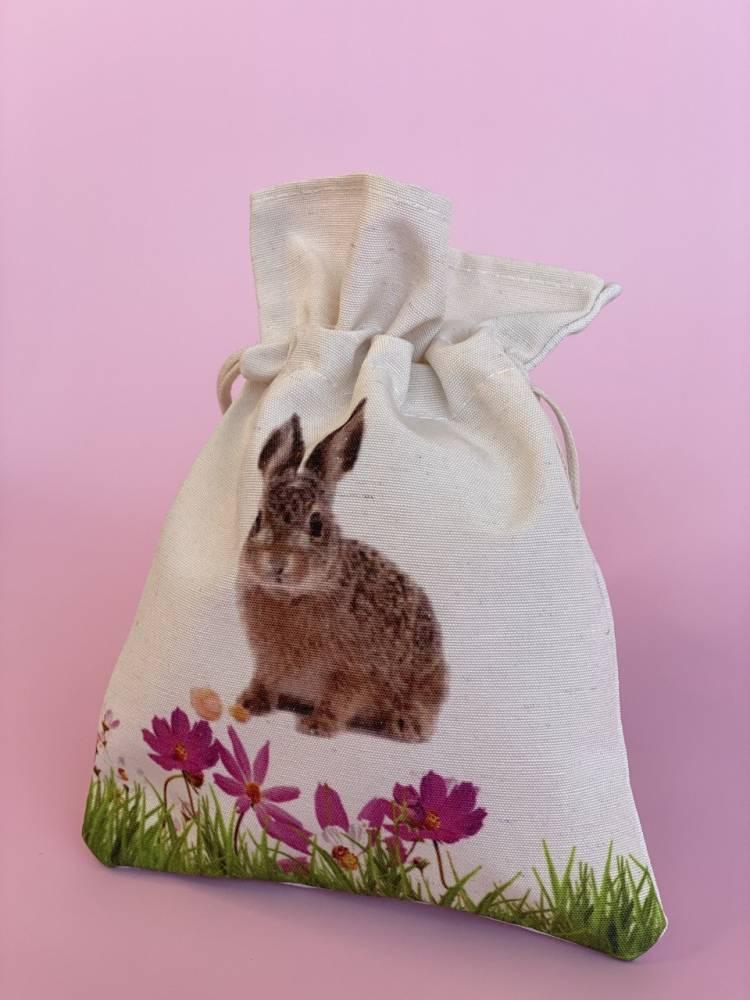 Подарочный пакет с кроликом, беж, (W/H) 13x19cm