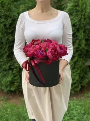 15 Бордовых пионов в шляпной коробке - заказ и доставка цветов Киев