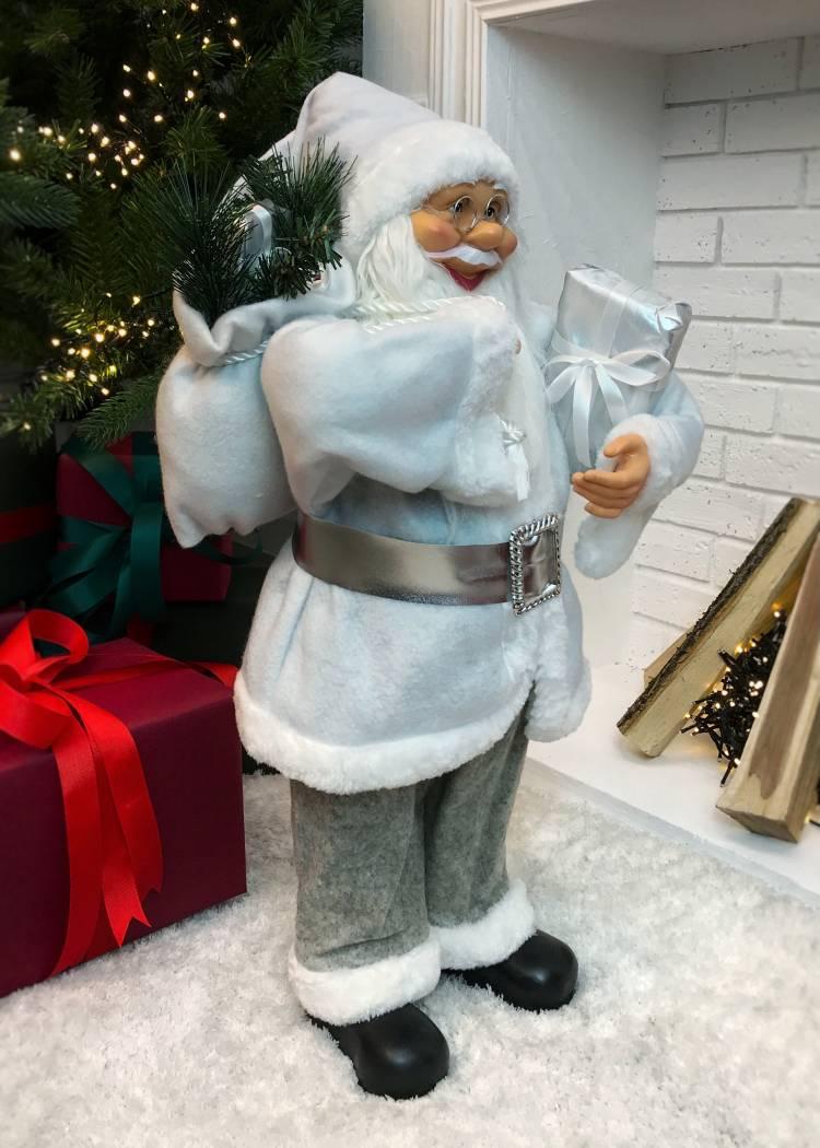 Новогодняя фигурка Санта белый с подарком, 20 LED, 60 см