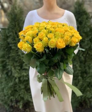 Букет 51 желтая роза - заказ и доставка цветов Киев