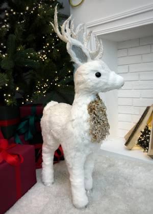 Новогодний декор Олень белый стоит - заказ и доставка цветов Киев