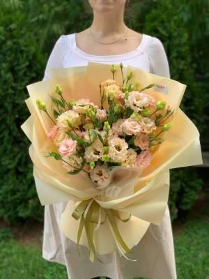 Букет 15 персиковых эустом - заказ и доставка цветов Киев