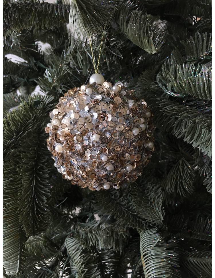 Ёлочное украшение Шар покрытый бисером  серебро, 10 см