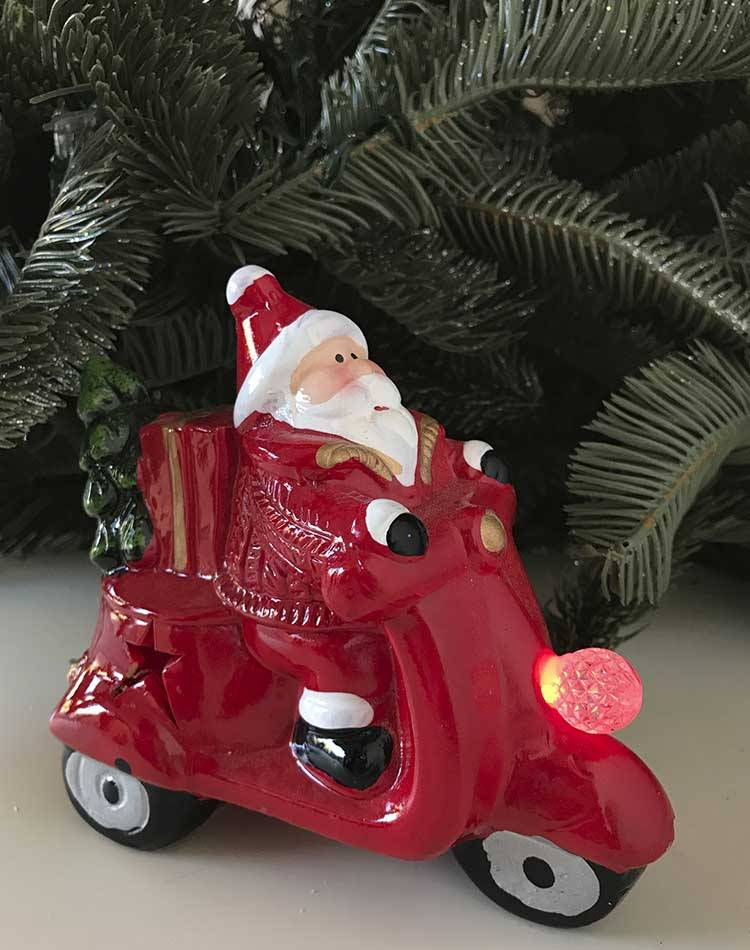 "Новогодняя статуэтка с LED подсветкой ""Санта на мотоцыкле"""