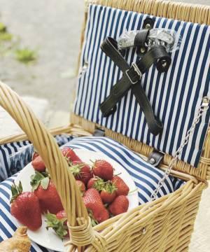Корзина для пикника на 4 человека в полоску - заказ и доставка цветов Киев
