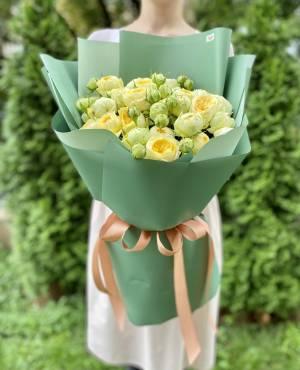 БУКЕТ 9 РОЗ СПРЕЙ ПИОНИ БАБЛС - заказ и доставка цветов Киев