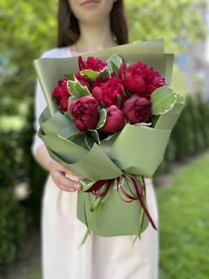 Букет 7 Бордовых пионов - заказ и доставка цветов Киев
