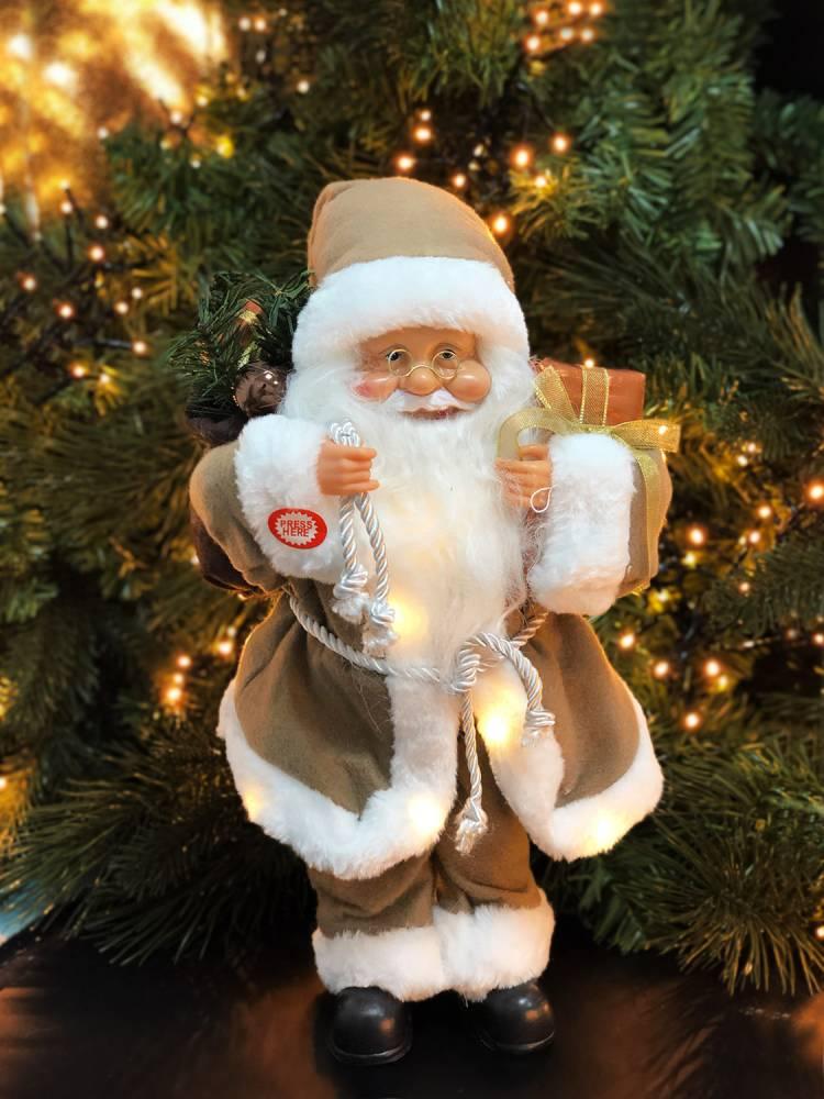 Санта промо, 15 LED, тканевый бежевый, 40 см