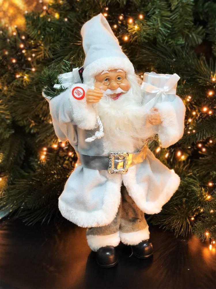 Новогодняя фигурка Санта-Клаус с подарком, 15 LED, тканевый белый, 40 см