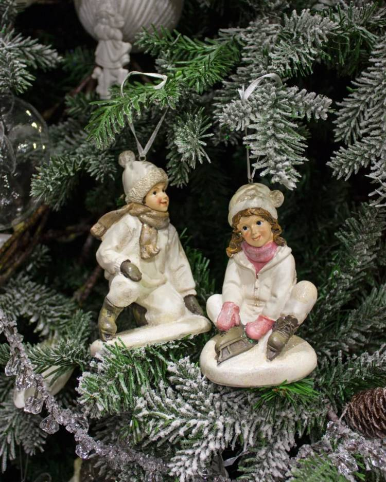 Новогодняя ёлочная игрушка Дети на коньках, белые в ассортименте 14см, 1шт.